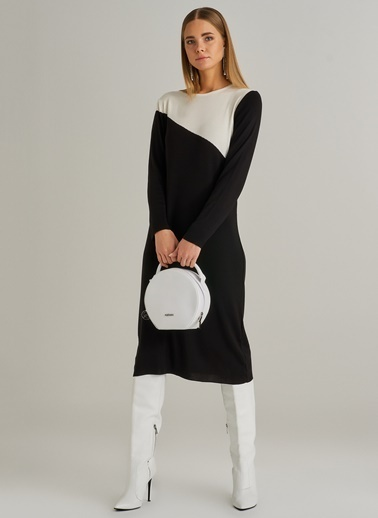 People By Fabrika Blokajlı Triko Elbise Siyah